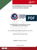 Construccion y Optimizacion Del Sistema Condominial de Alcantarillado