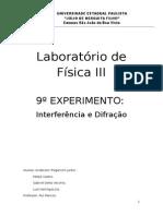 Laboratório de Física III - Relatório Nº3 - Interferência e drifração