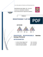 Informe de Fisica II . Resistividad y Ley de Ohm