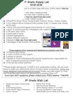 5th grade supply list 2015-2016