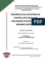 Desarrollo de Un Sistema de Control Aplicado a Un Mecanismo Policentrico de Miembro Inferior