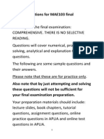 Practice Questions for Final Exam MAE103 T2 2014