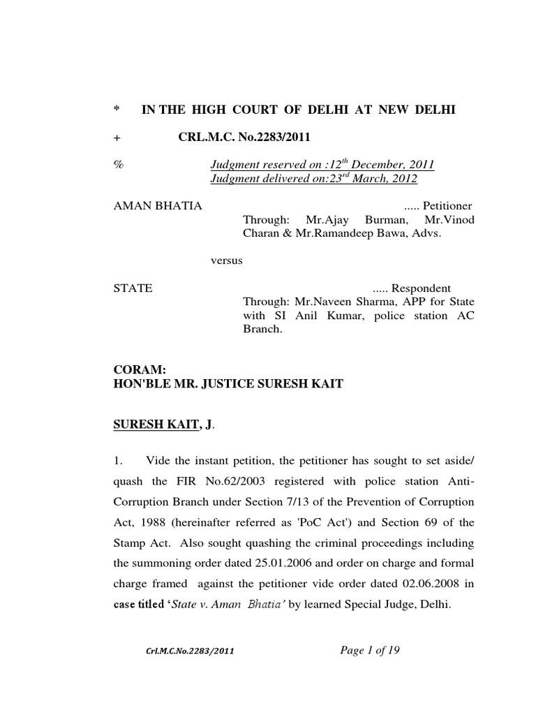 Aman Bhatia vs State of Delhi_stamp Vendor is Not a Public