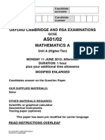 Question Paper A501 02 Unit a Higher Tier Visually Impaired