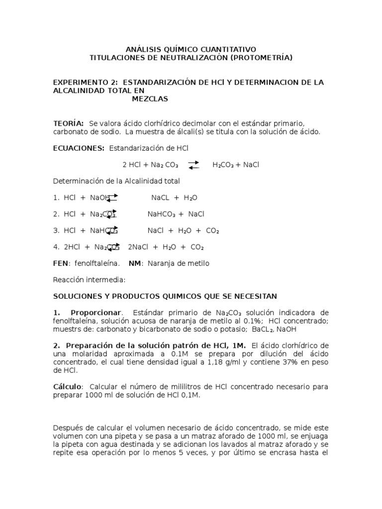 Estandarizacion de Hcl y Alcalinidad Total en Mezclas