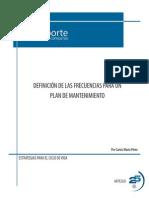 Definición de las frecuencias para un plan de mantenimiento