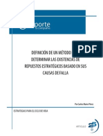 Definición de un método para determinar las existencias de repuestos estratégicos basado en sus causas de falla
