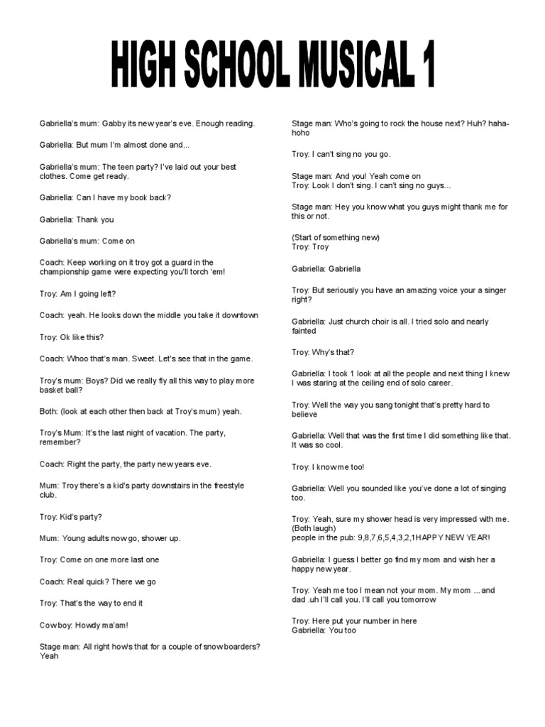 Hsm 1 Script | Leisure