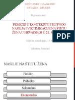 Femicid u Kontekstu Ukupnog Nasilja i Viktimizacije Na Štetu Žena u Hrvatskoj u 21. Stoljeću