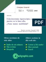 Colecistectomía Laparoscópica Con Tres Puertos en La Linea Alba