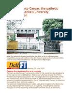 Rendering Unto Caesar the Pathetic State of Sri Lanka's University Administration