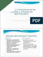 Aportes y Limitaciones Escuelas Administracion