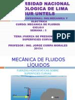 UNTECS MECANICA DE FLUIDOS SEMANA  FUERZA DE PRESION SOBRE SUPERFICIES CURVAS.ppt