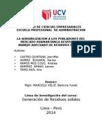 LA SENSIBILIZACION A LOS POBLADORES DEL MERCADO HUAMANTANGA RESPECTO AL MANEJO ADECUADO DE RESIDUOS SOLIDOS