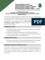 Edital Mestrado Profissional Em Planejamento e Políticas Públicas