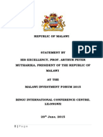 Statement Made by President Arthur Peter Mutharika at the Malawi Investment Forum 2015, Bingu International Convention Centre, Lilongwe (29th June 2015)