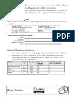 Excel Pre Course Questionnaire