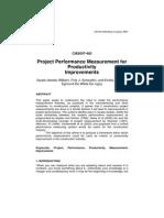 Project Performance Measurement for Productivity Improvements