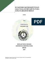 Analisis Faktor-faktor Keputusan Masyarakat Dalam Menabung Pada Bank Syariah Di Medan