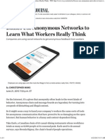 Bosses Use Anonymous Networks to Learn What Workers Really Think - WSJ