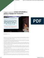 26-06-15 Asigna Maloro Acosta Actividades y Plazos a Equipo