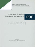 Dati e cenni su materiali dell'Artiglieria Austro-Ungarica - Cannone da 7 B Mont. M.99