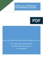 LOS VALORES PARA LA MEJORA DE LA CONVIVENCIA EN EL AULA