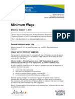 Minimum wages in Canada comparison chart