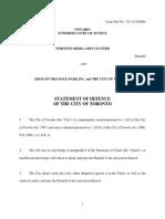 City of Toronto statement of defense, TMAC lawsuit