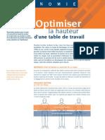 Fiche Technique Optimiser La Hauteur d'Une Table
