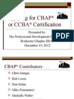 Applying for CBAP 12-19-12
