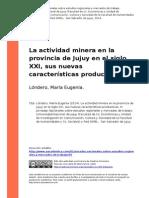 La Actividad Minera en La Provincia de Jujuy en El Siglo XXI, Sus.. (1)