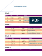 Schedule of Guidance Programme for CGL