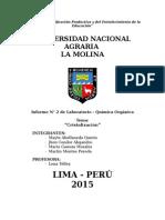 Informe de Orgánica N° 2 Cristalizacion