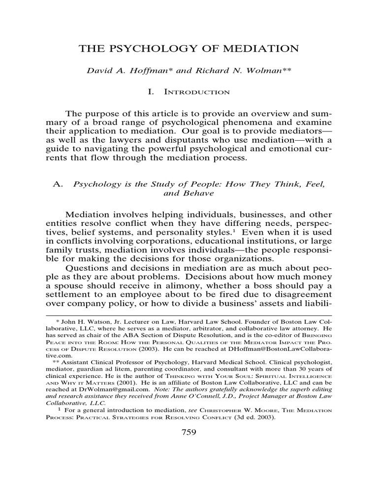 Hoffman y wolman 2013 the psychology of mediation mediation hoffman y wolman 2013 the psychology of mediation mediation fight or flight response buycottarizona