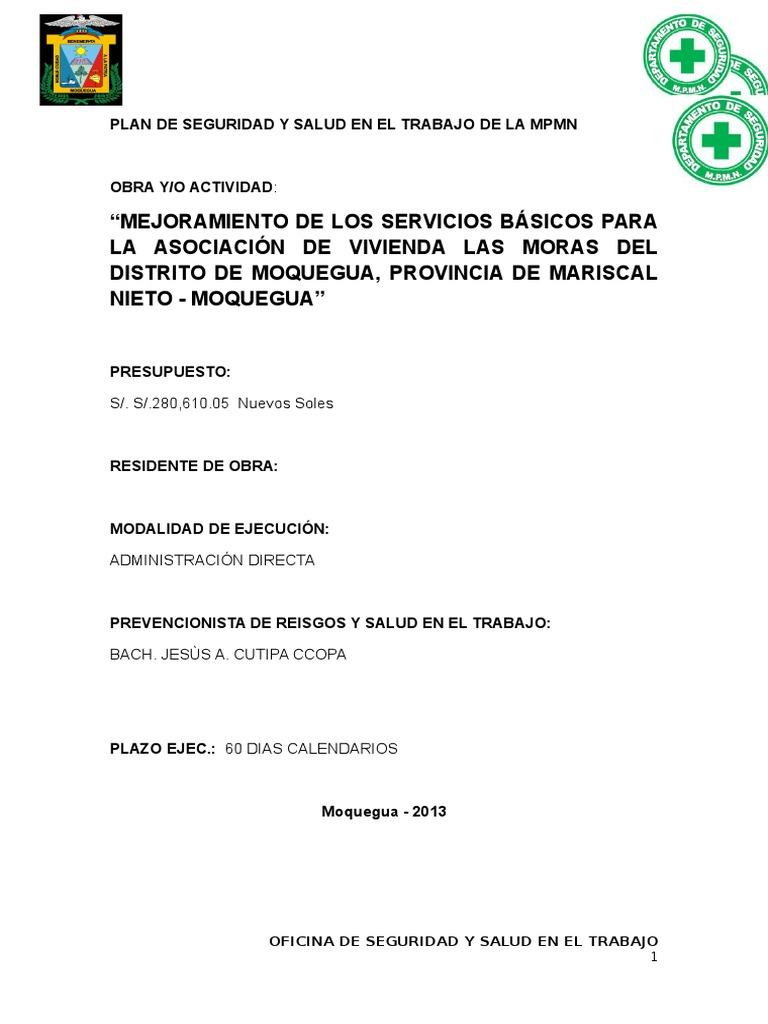 Plan de Seguridad y Salud en El Trabajo Las Moras