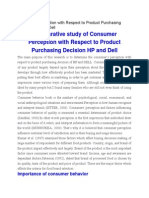 Consumer Perception With Respect to Product Purchasing Decision HP and Dell