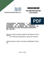 2011 Zambrano Inteligencia Emocional y Rendimiento Académico en Historia Geografía y Economía en Alumnos de Segundo de Secundaria de Una Insti