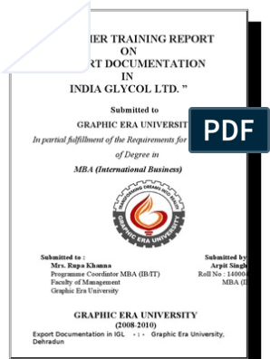 India Glycol Ltd Arpit Singh Final Report | Chemical Industry | Fine