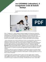 UE approva LIXIANA® (edoxaban) anticoagulante orale di Daiichi Sankyo