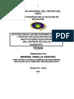 Tesis - Actitud Hacia Las Relaciones Humanas y Proyectos Educativos en Las Instituciones Educativas