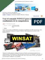 Usar El Comando WINSAT Para Saber El Rendimiento de La Computadora