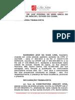 REC TRAB Construtora Aracati X Raimundo avulso + Estabilidade Acidente do Trabalho