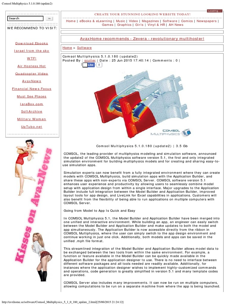 Comsol Multiphysics 5 1 0 180 (update2) pdf | Application