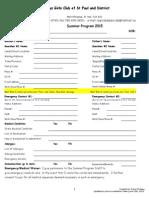 Registration Forms Summer Program 2015