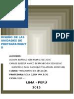 1er Informe - Avance Diseño de Pretratamiento
