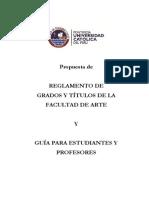 Reglamento de Grados y Títulos de La Facultad de Arte 2012