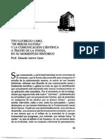 Tito Lucrecio Caro de Rerum Natura y La Comunicacion Cientifica a Traves de La Poesia en Su Momentum Historico