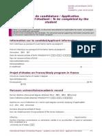 Applicant Information, Paris Saclay