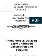 Journal Reading Timely Versus Delayed Early Childhood Vaccination and Seizures
